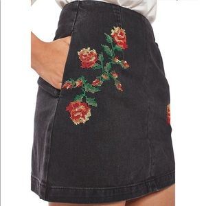Topshop Moto Denim Embroidered Skirt
